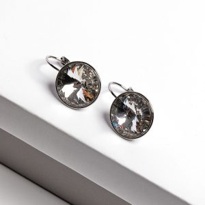 Silver Huggie Earrings Embellished With White Crystal From Swarovski