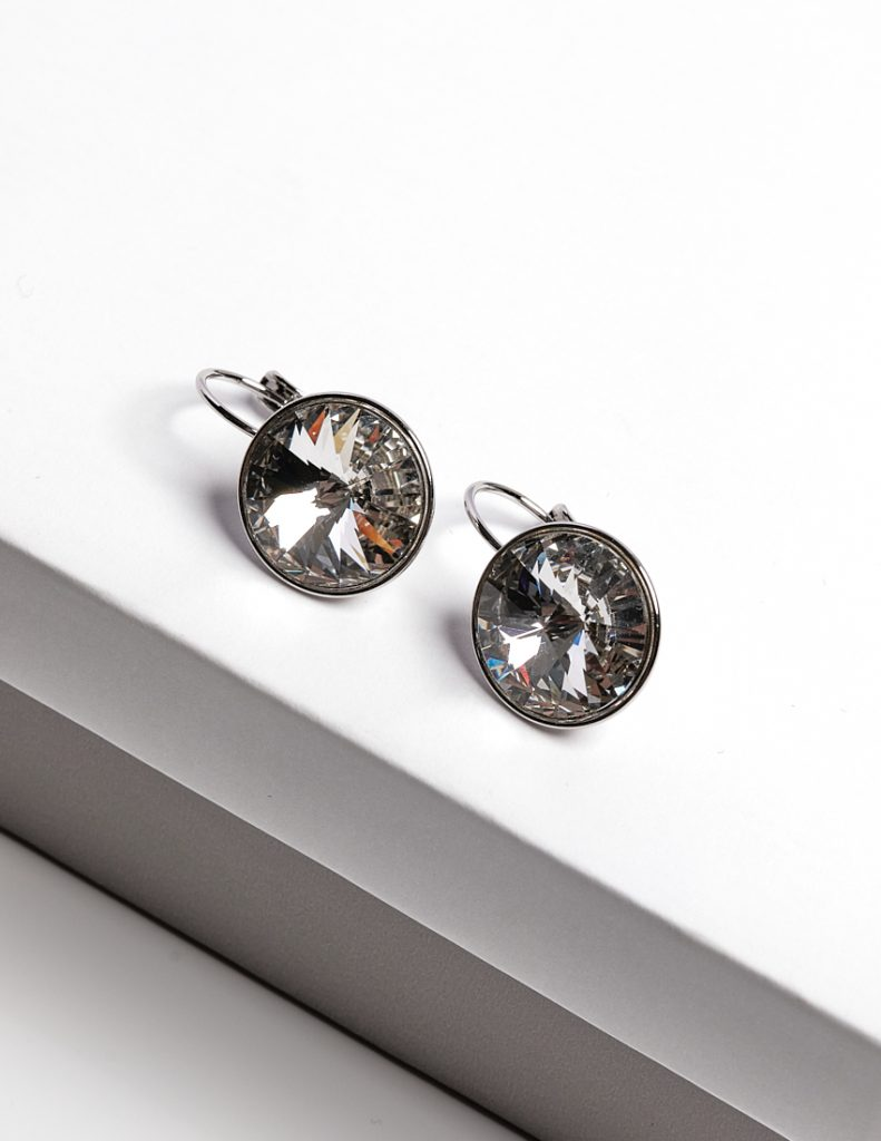 Callel Huggie Earrings Embellished with White Crystal from Swarovski