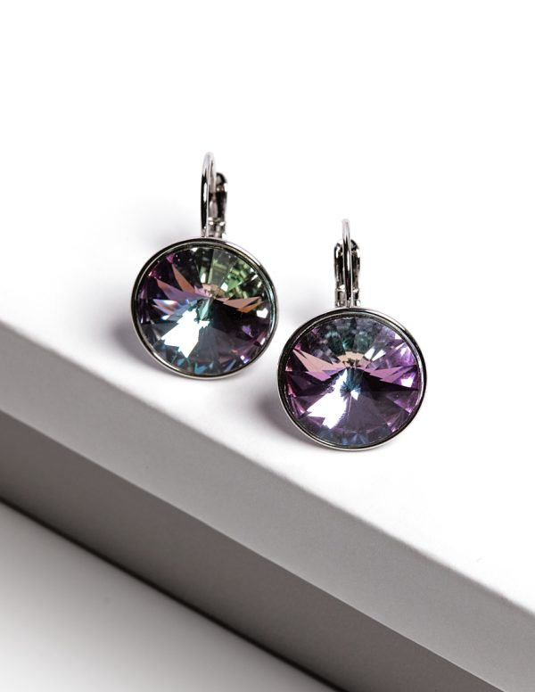 Callel Huggie Earrings Embellished with Lilac Crystal from Swarovski