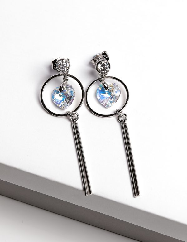 Callel Long Drop Heart Earrings Embellished with AB Crystal from Swarovski