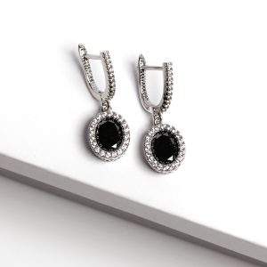 Black & Silver Oval Cubic Zirconia Latch Back Earrings