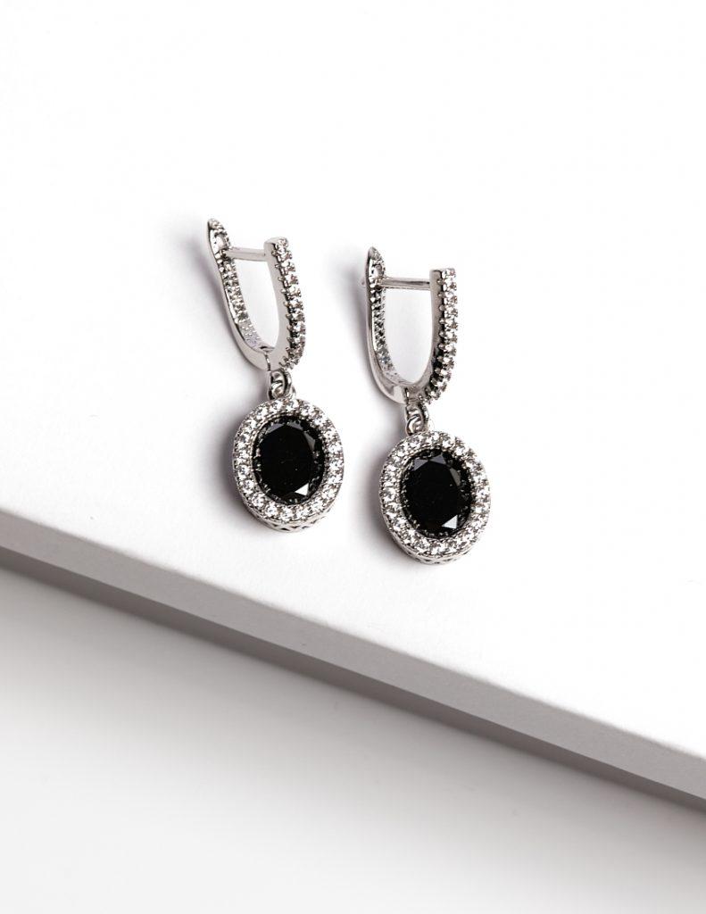 Callel Black & Silver Oval Cubic Zirconia Latch Back Earrings