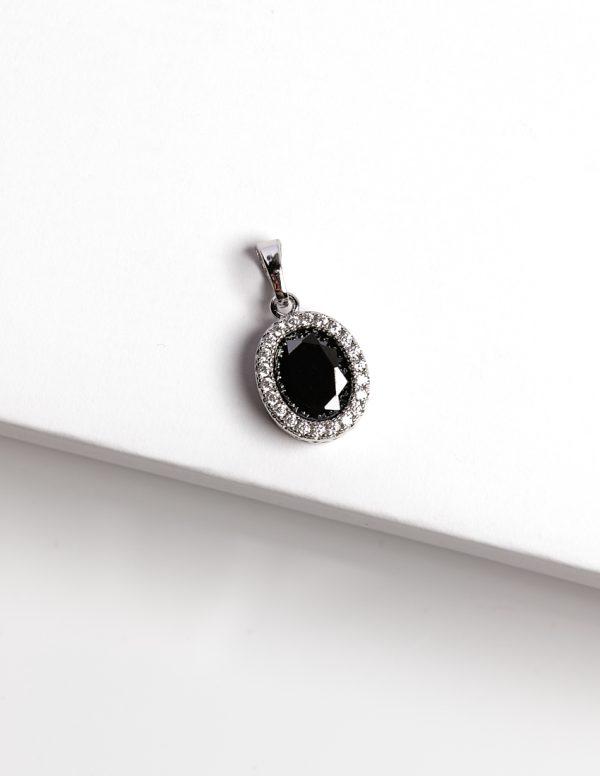 Callel Black & Silver Oval Cubic Zirconia Pendant