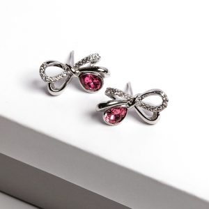 Bow Stud Earrings Embellished With Rose Crystal From Swarovski