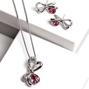 Bow Necklace & Earrings Set Embellished With Rose Color Crystal From Swarovski
