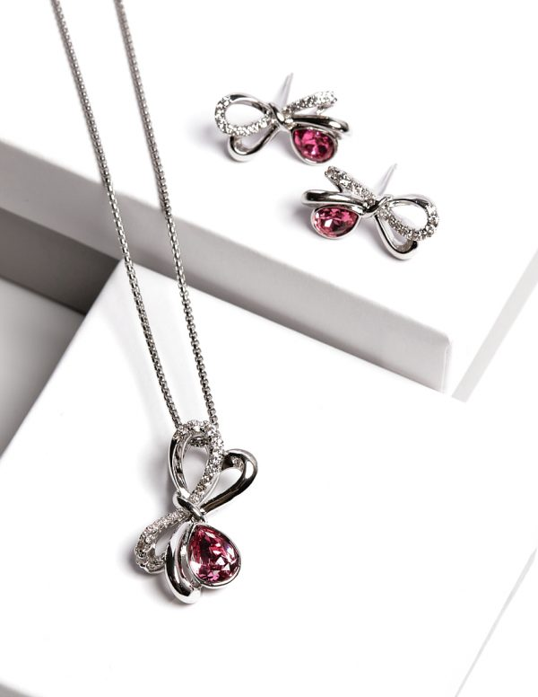 Bow Jewellery Set Embellished With Rose Color Crystal From Swarovski