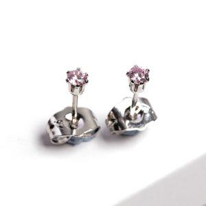 Silver Pink Cubic Zirconia Crystal Stud Earrings