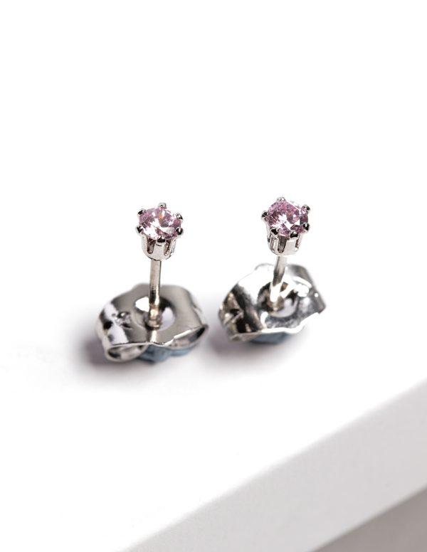 Callel Silver Pink CZ Crystal Stud Earrings