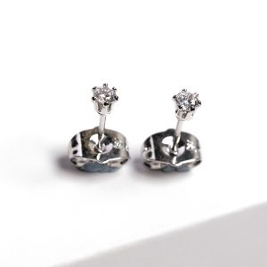 Callel Silver Cz Crystal Stud Earrings