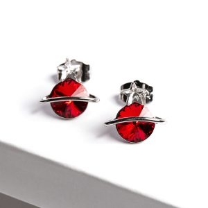 Planet Stud Earrings Embellished With Red Crystal From Swarovski