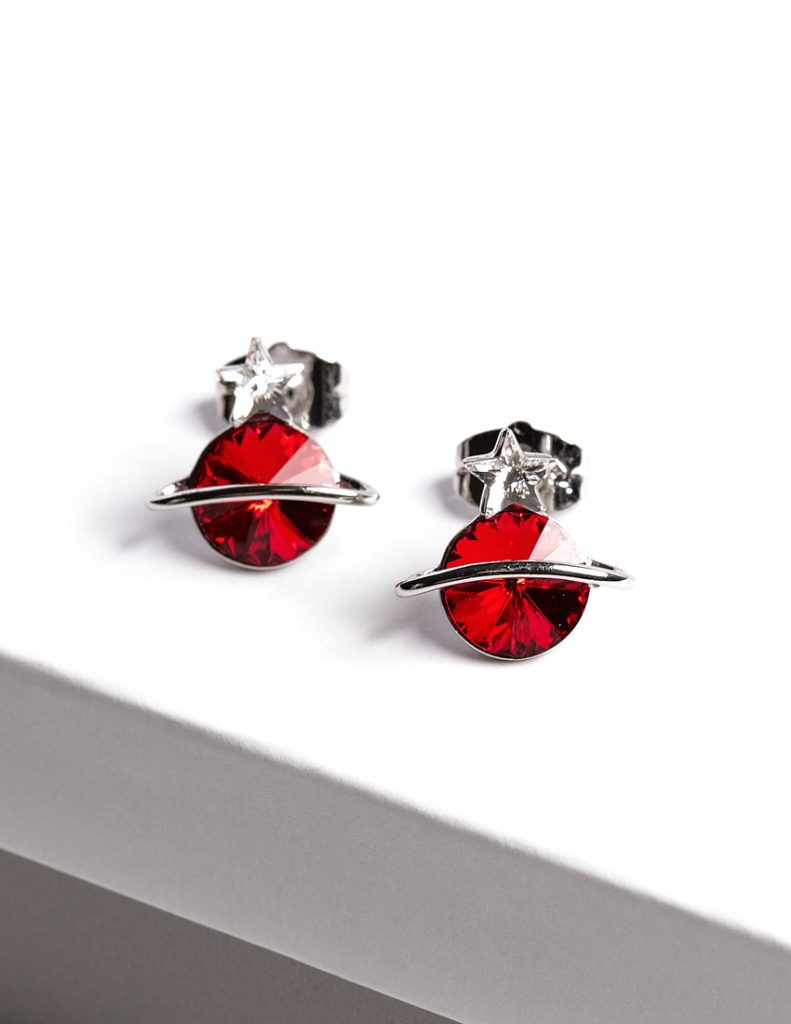 Callel Planet Stud Earrings Embellished with Red Crystal from Swarovski