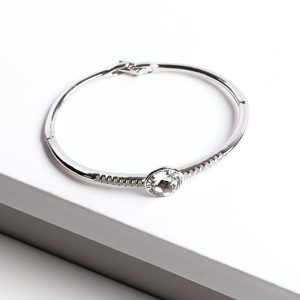 Silver Bangle Bracelet Embellished With White Crystal From Swarovski