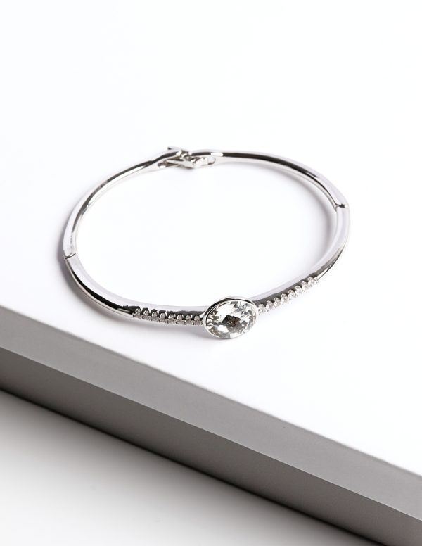 Callel Bangle Bracelet Embellished with White Crystal from Swarovski