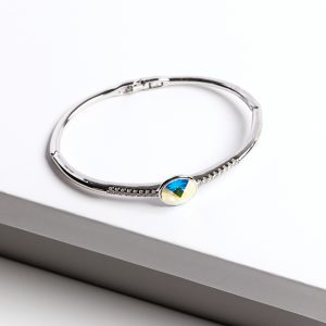 Silver Bangle Bracelet Embellished With AB Crystal From Swarovski