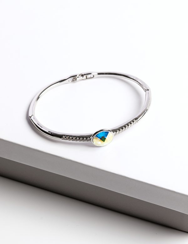 Callel Silver Bangle Bracelet Embellished with AB Crystal from Swarovski