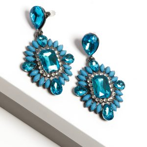 Callel Blue Crystal Long Drop Earrings