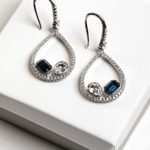 Silver Hook Earrings Embellished With White & Blue Crystal From Swarovski