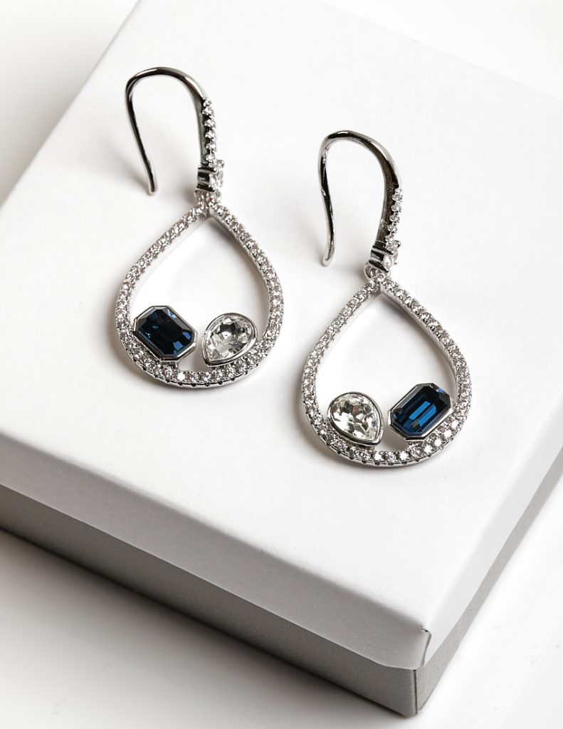 Callel Silver Hook Earrings Embellished With Crystals From Swarovski