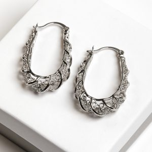 Silver Thick Patterned Creole Hoop Earrings