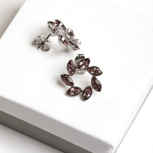 Callel Flower Shaped Stud Earrings Embellished With Crystal From Swarovski
