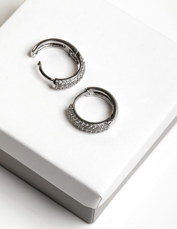 Callel Silver Cubic Zirconia Huggie Earrings