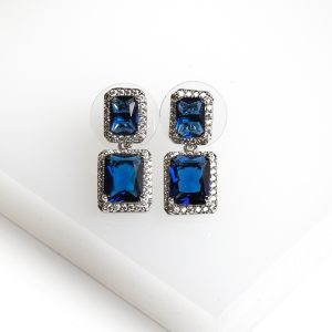 Silver Square Blue Cubic Zirconia Drop Stud Earrings
