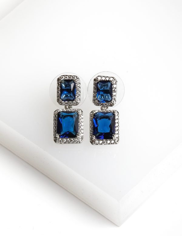 Callel Silver Square Blue CZ Drop Stud Earrings