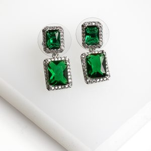 Silver Square Green Cubic Zirconia Crystal Drop Stud Earrings