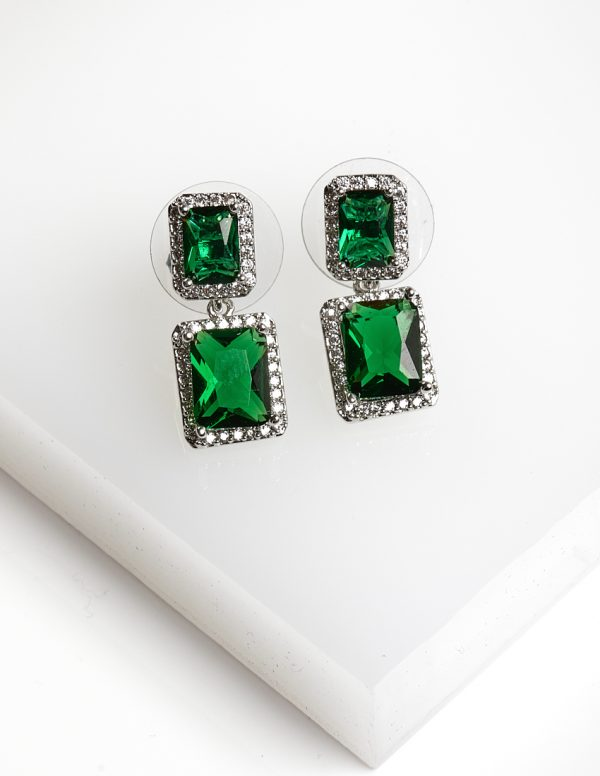 Callel Silver Square Green Synthetic CZ Drop Earrings