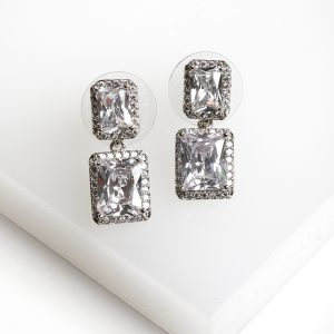 Silver Square White Cubic Zirconia Drop Earrings