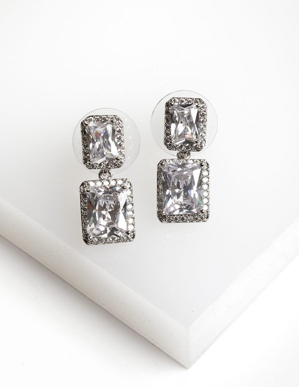Callel Silver Square White CZ Drop Stud Earrings