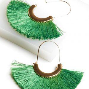 Fan Tassel Earrings In Green