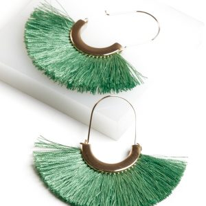 18K Gold Fan Tassel Earrings In Green