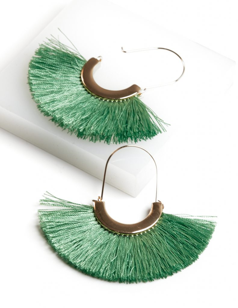 Callel 18K gold color Fan Tassel Earrings in Green