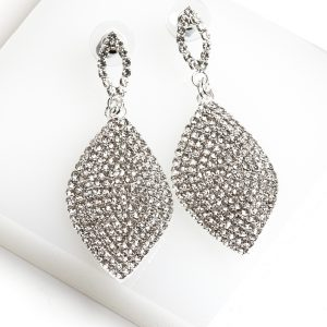Callel Leaf Shaped Long Drop Dangle Cz Crystal Earrings