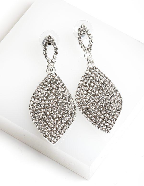 Callel Leaf Shaped Long Drop Dangle Cz Crystal Earrings
