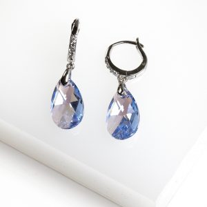 Callel Dangle Drop Earrings Embellished with Blue Crystal from Swarovski