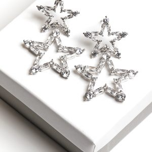 Silver Star Shaped Synthetic Cubic Zirconia Drop Stud Earrings