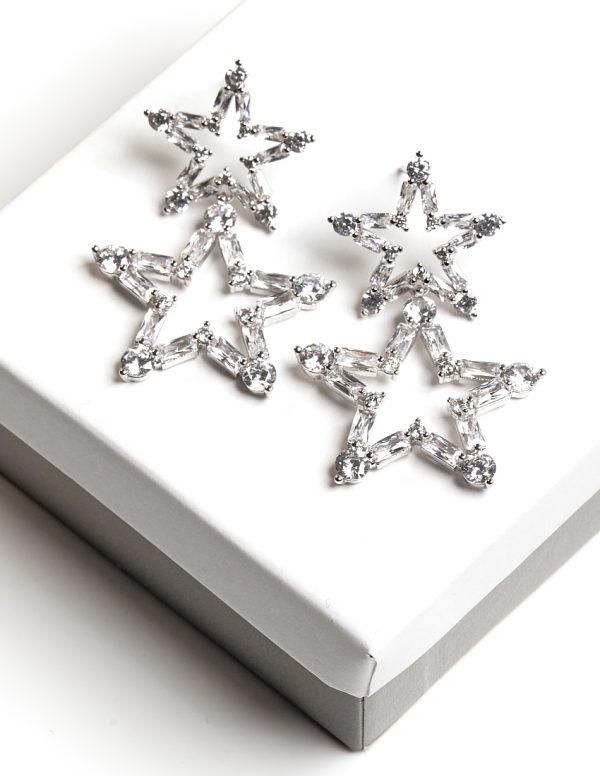 Callel Silver Star Shaped Synthetic CZ Drop Stud Earrings