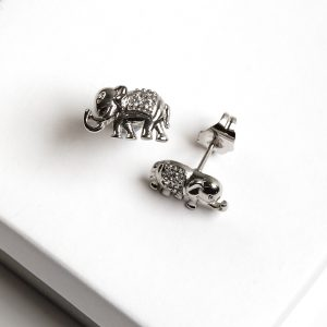 Callel Silver Elephant Synthetic CZ Crystal Stud Earrings