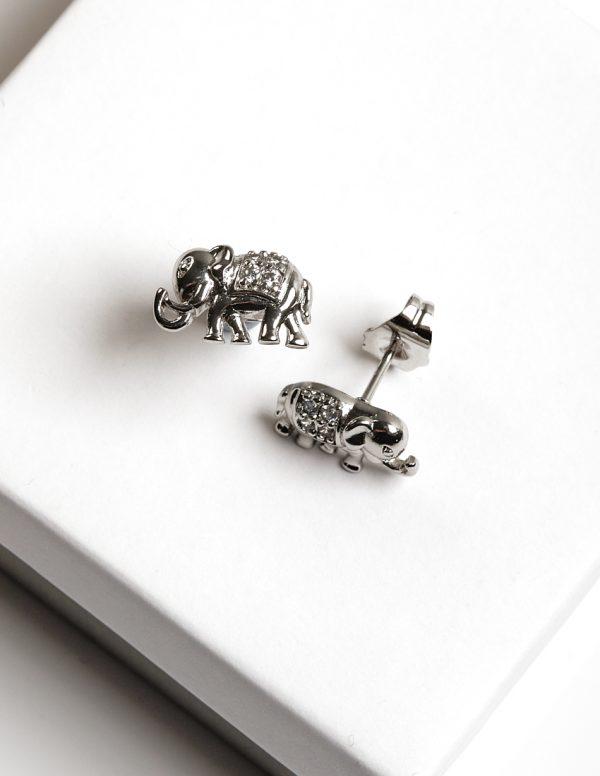 Callel Silver Elephant Synthetic CZ Crystal Stud Earrings