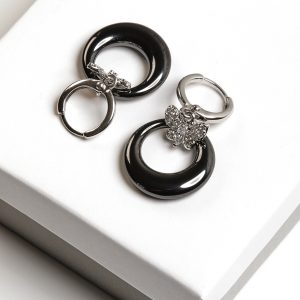 Callel Silver & Black Butterfly Earrings