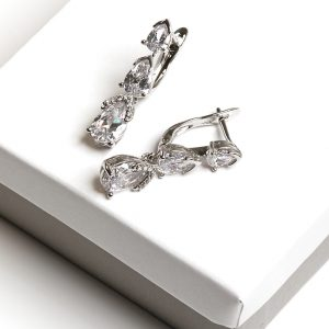 Silver Cubic Zirconia Dangle Drop Latch Back Earrings