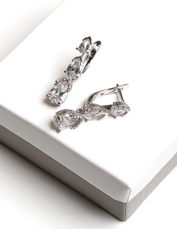 Callel Silver CZ Dangle Drop Creole Earrings