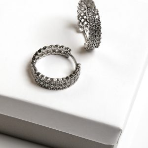 Silver Cubic Zirconia Huggie Hoop Earrings