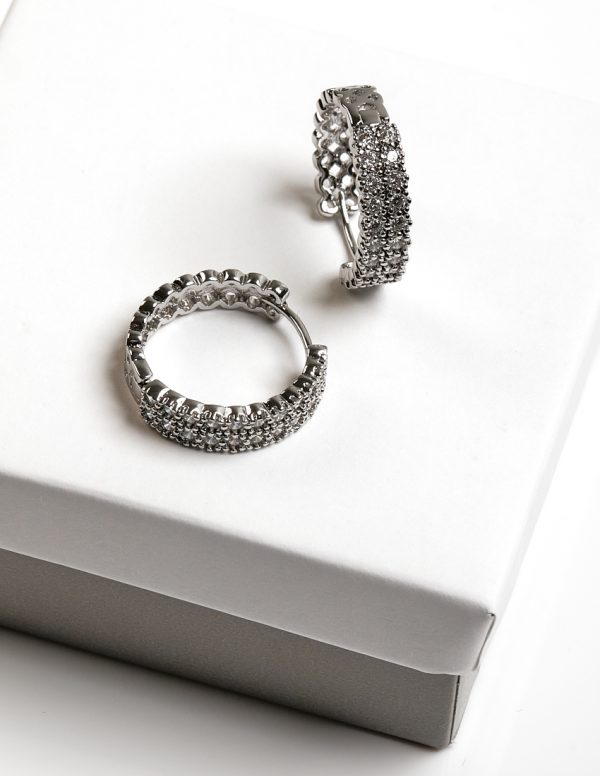 Callel Silver Cubic Zirconia Huggie Hoop Earrings