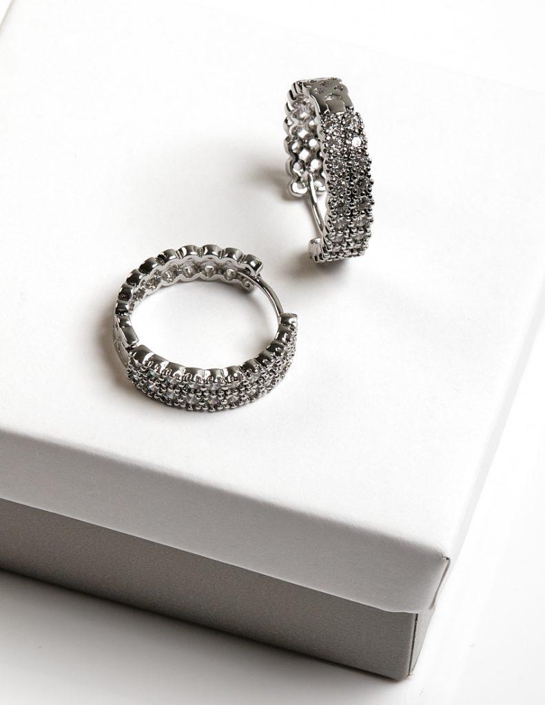 Callel Silver Cubic Zirconia Huggie Hoop Earrings