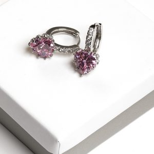 Callel Pink Cz Crystal Heart Shape Huggie Hoop Earrings In Silver