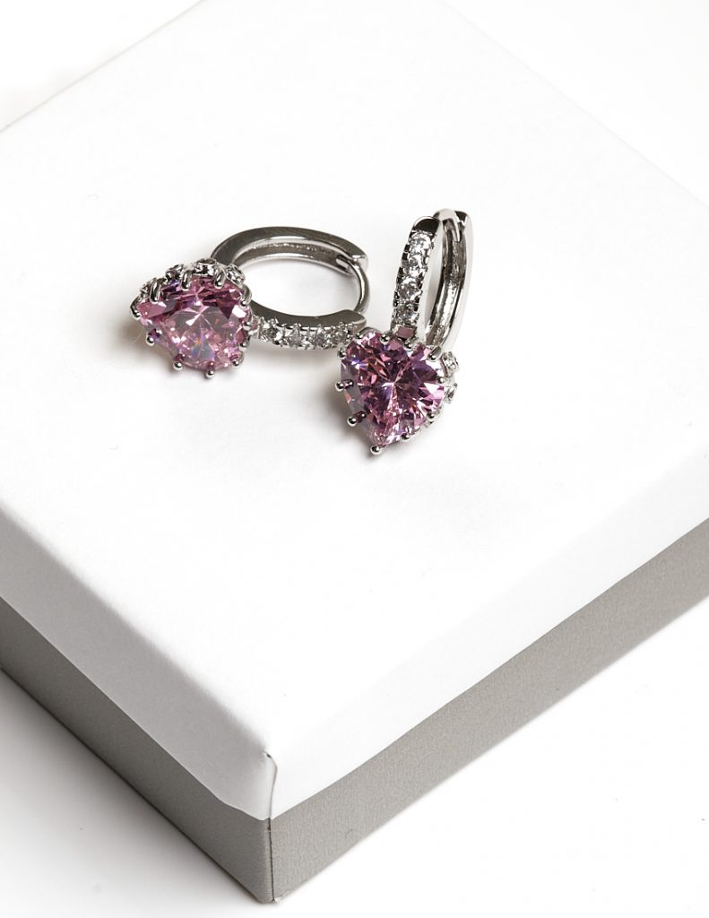 Callel Pink Cz Crystal Heart Shape Huggie Hoop Earrings In Silver