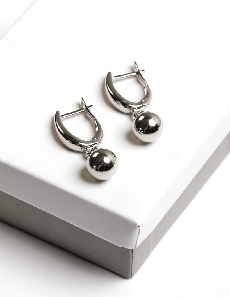 Callel Highly Polished Silver Ball Drop Creole Earrings